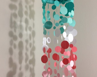 Baby Mirror Mobile, Baby Mobile, Crib Mobile, Nursery Mobile, Nursery Decor - Turquoise and Pink