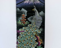 Vintage Black Velvet Peacock Painting Scroll - Kitsch Japanese Peacock Painting on Black Velvet Scroll Wall Hanging - Retro Kitsch Tapestry