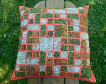 WINDOWS cushion cover patchwork cotton batik red gold green white and red linen