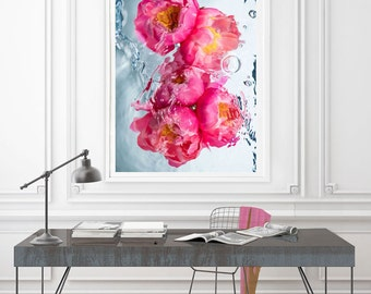Framed Peony Art, Floral Print, Spring And Summer Art, Pink, Modern Art By Jessica Kenyon