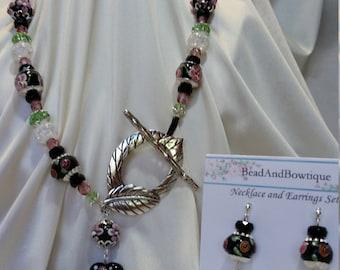 Floral Lampwork Necklace & Earrings Set