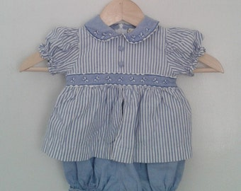 Vintage Baby Girls' Blue White Chambray Striped One Piece Romper Playsuit Sz 3 - 6 Mo Classic