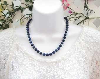 Lapis Lazuli and Czech Beads Necklace, Blue Necklace,  Beaded Necklace, Gift