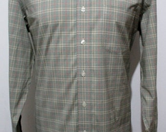 """80s BROOKS BROTHERS Green Check Shirt LARGE 44"""" Chest (42-44) with button down collar ---Quality Vintage Menswear---"""