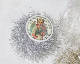 6 yards Silver Bells Tinsel Glitter Twine, Trim, DISCONTINUED GET IT Before Its Gone, Wood Spool, Angel, Christmas Craft, Knit, Yarn