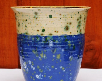 Spotted Blue & Yellow Vase