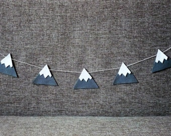 Baby Nursery Decor,Kids decor,Kids art,Felt Mountain Snowy Peaks Garland,Baby Nursery and Childrens Decor,Baby Shower Gift