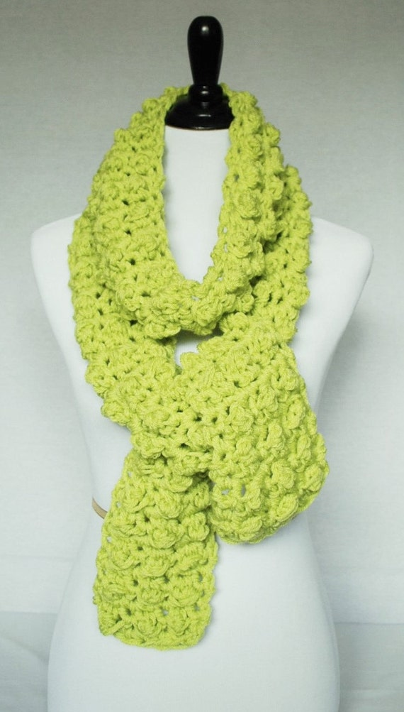 Yellow Green Crochet Scarf, Neck Warmer, Wrap Cowl - Textured, Bobble, Celery, Lettuce Green