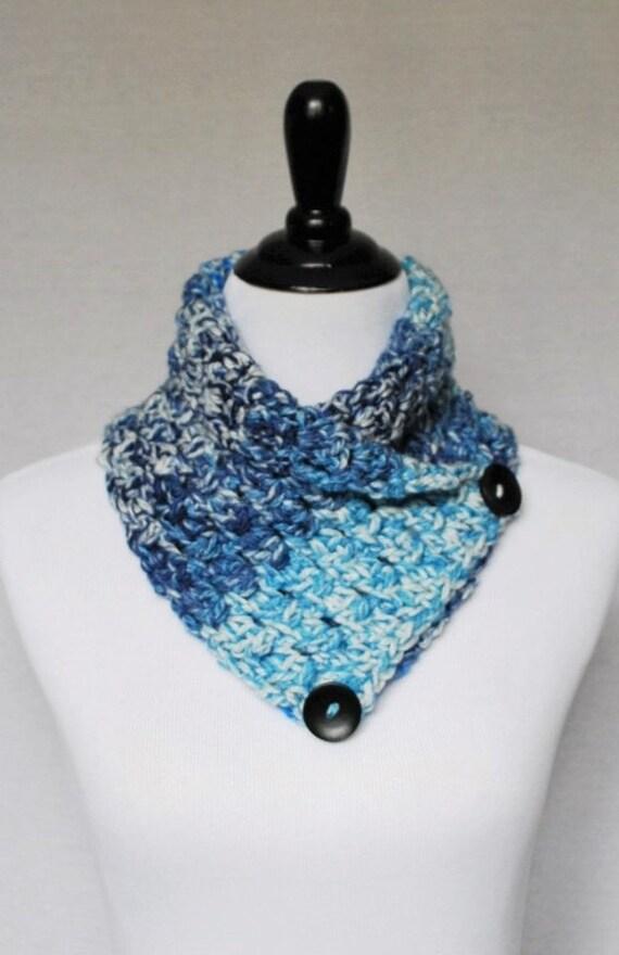 SALE! Blue and White Button Cowl, Navy Crochet Neck Warmer, Light Blue Button Scarf, Crochet Wrap, Collar Scarf