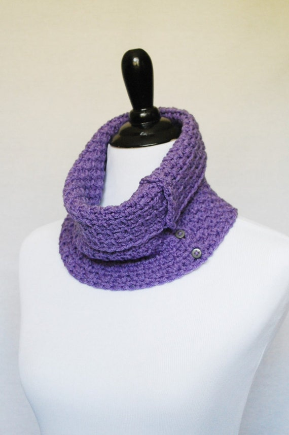 Purple Crochet Button Cowl, Tall Neck Warmer, Collar Scarf