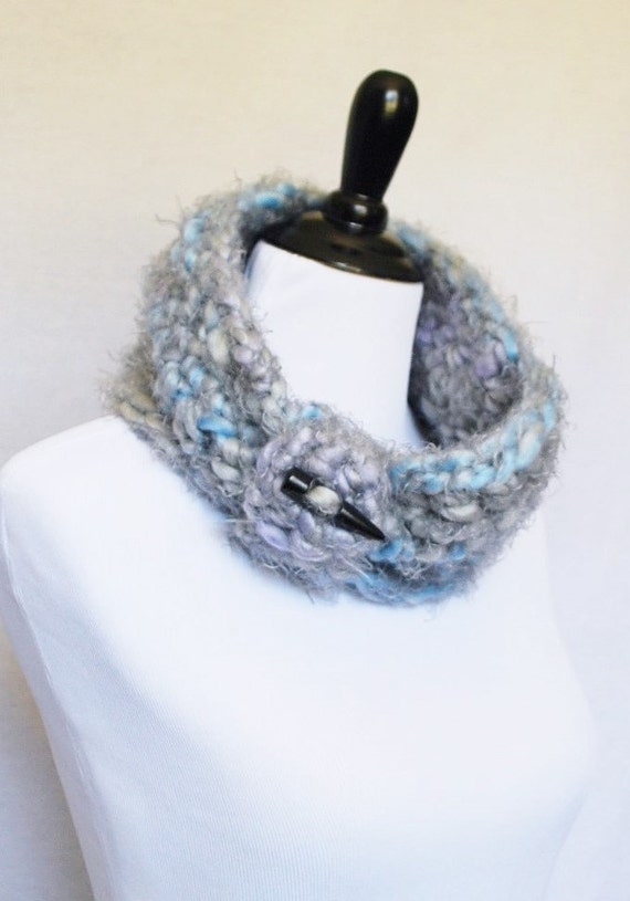 SALE! Gray, Blue and Purple Button Cowl, Short Infinity Scarf, Extra Soft Cowl, Crochet Neck Warmer with Removable Wrap - Gathered, Pastel