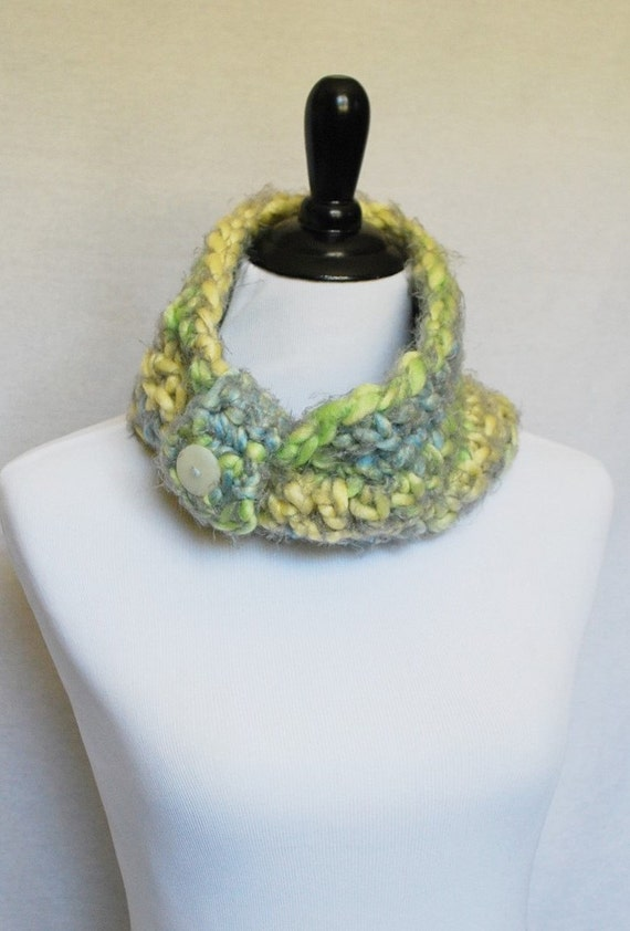SALE! Yellow, Blue and Green Button Cowl, Short Infinity Scarf, Extra Soft Cowl, Crochet Neck Warmer with Removable Wrap - Gathered, Pastel