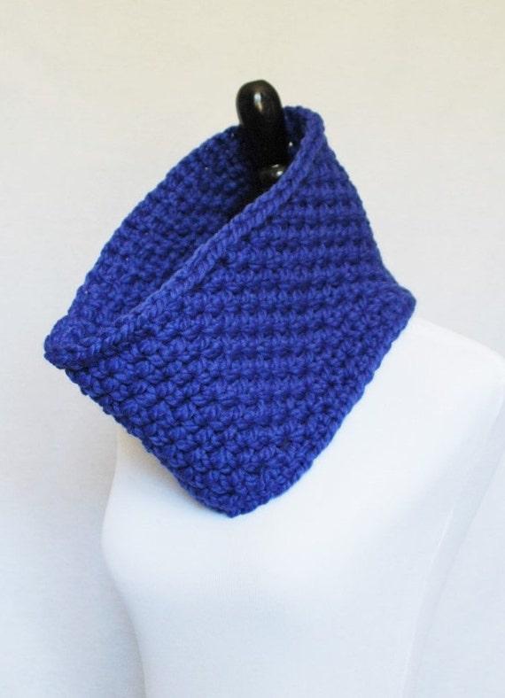 Blue Crochet Cowl, Chunky Neck Warmer, Short Infinity Scarf, Royal Blue Crochet Collar Scarf