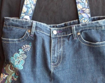 Repurposed embroidered denim jeans into large tote