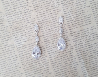 Bridal Earrings, Cubic Zirconia Earrings, Wedding Earrings, Chandelier Earrings, Grad Jewelry, Party Jewelry , Bridal Jewelry