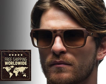 Wooden Sunglasses walnut solid wood totally made in italy
