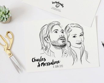 Custom couple portrait - VERSION paper Valentine