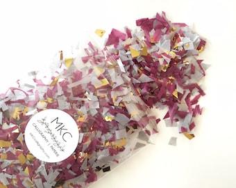 Cabernet, Grey & Gold Tissue Confetti / Rough Cut / Handmade / Bridal Shower, Baby Shower, Birthday's, Weddings, etc.