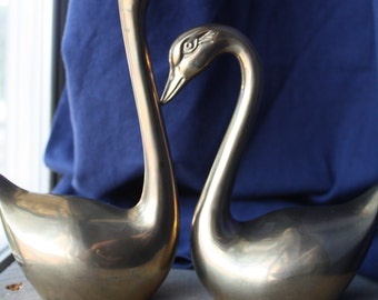 Set of 2 Vintage Brass Swans