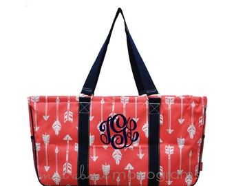 Personalized Monogrammed Collapsible Deluxe Large Utility Tote Bag | CORAL ARROW | Teacher Gift | Tailgating | Carry All Organizer