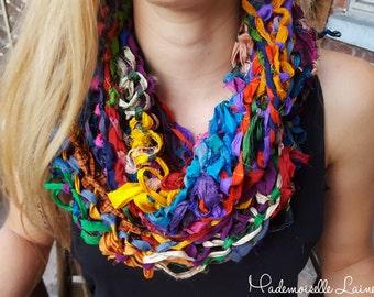 Infinity multicolored sari silk scarf