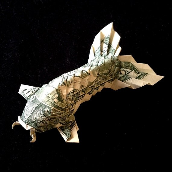 Koi fish with fluffy tail 3d money origami gift by for Dollar bill koi