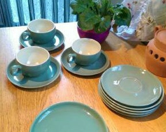 Vintage Denby Manor Green Stoneware, Teacups, Saucers and Side Plates.
