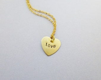 Romantic Necklace Gold Heart Jewelry Valentines Day Love Charm Small Pendant Minimalist Layering Layered Girlfriend Womens Gift For Her