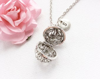 Egg locket necklace,silver locket necklace, keepsake locket, silver locket, locket, egg necklace, personalized locket