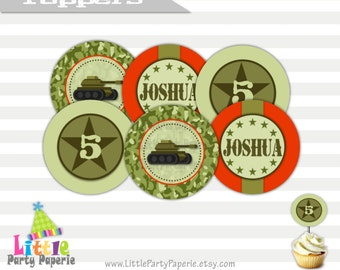 Army Birthday Cupcake Toppers | Printable Cupcake Toppers | Party Circles | Army Tank | Camouflage | Design 15025