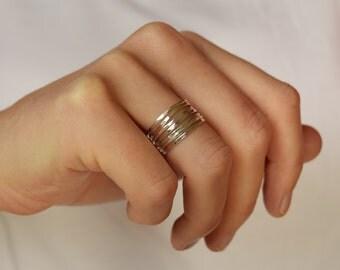 Stacking Rings - Skinny Stacking Rings - Silver Stacking Ring Set - Linked Stacking Rings
