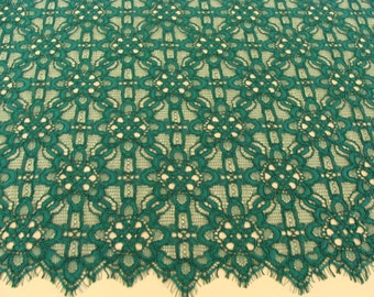 Green lace fabric - spanish style, Smaragd Green Alencon lace fabric
