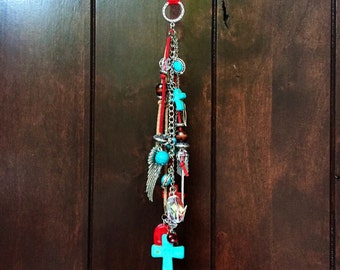 Rear View Mirror Charm Boho Hippie Cowgirl Car Decor Rearview Ornament Car Accessories for Women Red Turquoise Cross Arrow Angel Wing Beaded
