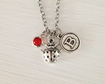 Beetle necklace - silver beetle - personalize necklace - bff necklace - friendship necklace - sister - girlfriend gift