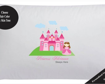 Personalized Princess Pillow Case Girls Princess Castle Pillowase
