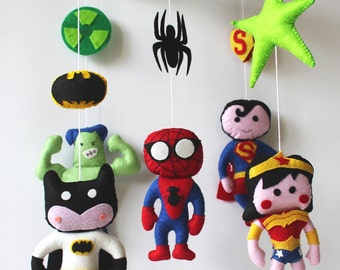 Super Hero Mobile - Baby Mobile - Baby Crib Mobile