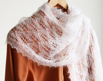 Estonian Lace Shawl, Lace Mohair Shawl, Hand Knitted Wrap, Handmade Scarf, Christmas Gift