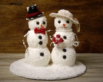Snowman Winter Wedding Cake Topper