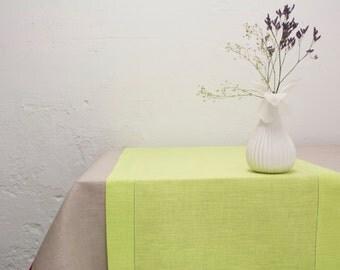 Linen Table Runner with Hemstitch. Light Lime Green Table Runner. Easter, Spring, Wedding Table Decor.