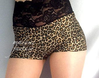 High waisted Leopard Print spandex shorts hot pants Black lace top