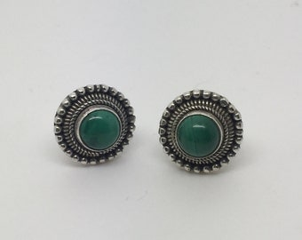 big silver stud earrings with Malachite stone,Malachite earrings,Malachite jewelry,Malachite studs,stone earrings,stone studs,boho earrings