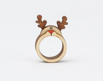 Deer Antler Rings Jewelry, TREEnket Ring, Animal Ring Jewelry, Gift Ideas For Wife, Original Wooden Ring. Stackable Ring Set For Her