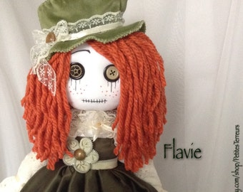 JULY***SALE***FLAVIE Ragdoll 18'' Steampunk Goth handmade doll ooak tattered cloth soft art doll Collection Signed and Nubered