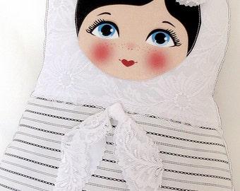 "Babushka matryoshka softie plush doll pillow gift, large, 42cm/16.5"" tall, black and white"
