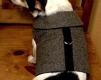 Black  White Herringbone Flannel Dog Harness Vest Fleece Lined