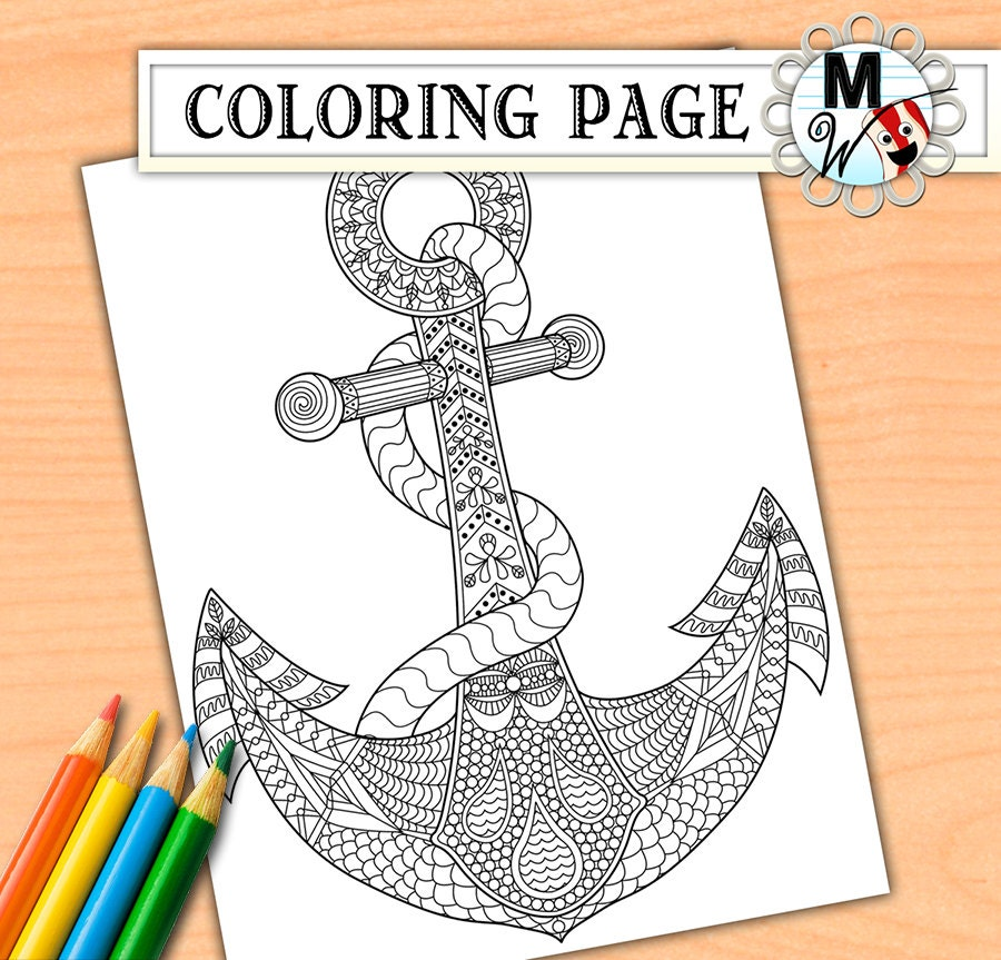 Anchor coloring page for adults anchor adult coloring page for Anchor coloring page