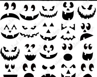 Spooky faces etsy for Scary jack o lantern face template