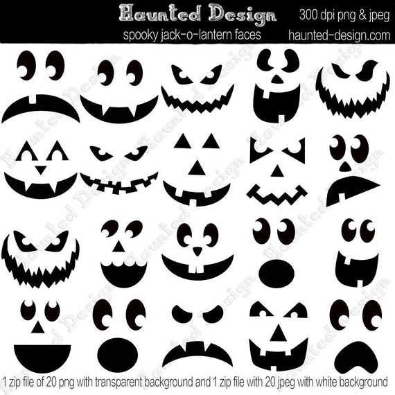 Jack-o-Lantern Spooky Faces Digital Download JPEG with white