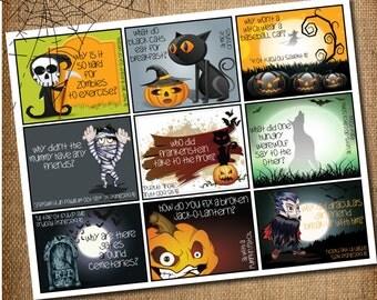 HALLOWEEN LUNCHBOX JOKES, Printable - Halloween Lunchbox Cards for Kids, Halloween Kids Jokes