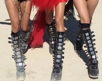 Sand Warrior Cyber Goth vegan Platform Boots-